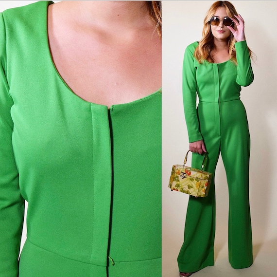 1960s RARE green Alfred Shaheen zip up front wide