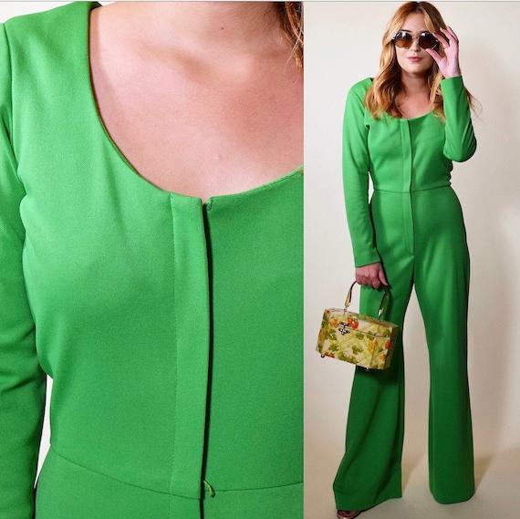 1960s RARE green Alfred Shaheen zip up front wide leg bell bottom jumpsuit women's size small-medium