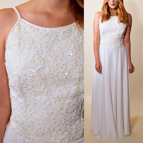 Vintage Jessica McClintock ivory white sequin bust formal gown / dress women's size small