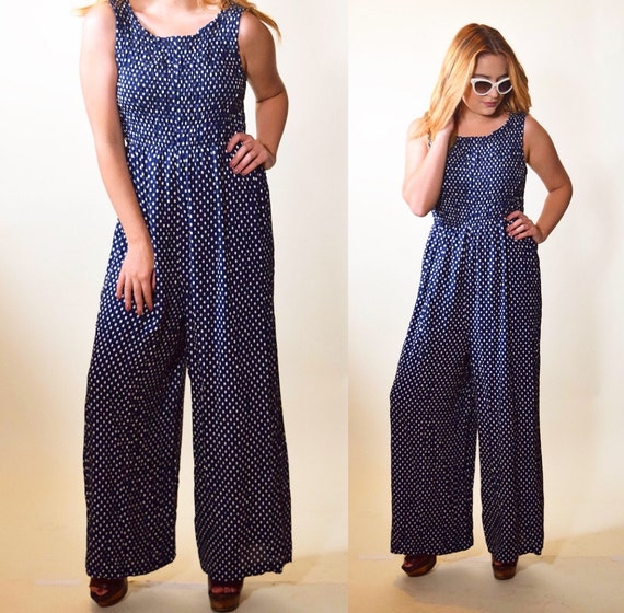 1980s authentic vintage navy blue + white polka dot pattern sleeveless jumpsuit women's size S-M