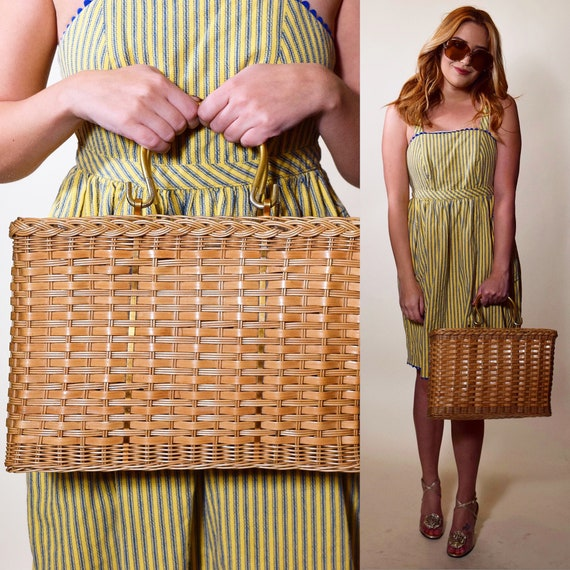 1950s authentic Vintage light brown wicker basket style square purse with gold top handle