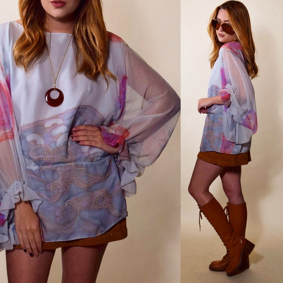 Authentic vintage drop waist blousy disco watercolor sheer tunic women's size medium