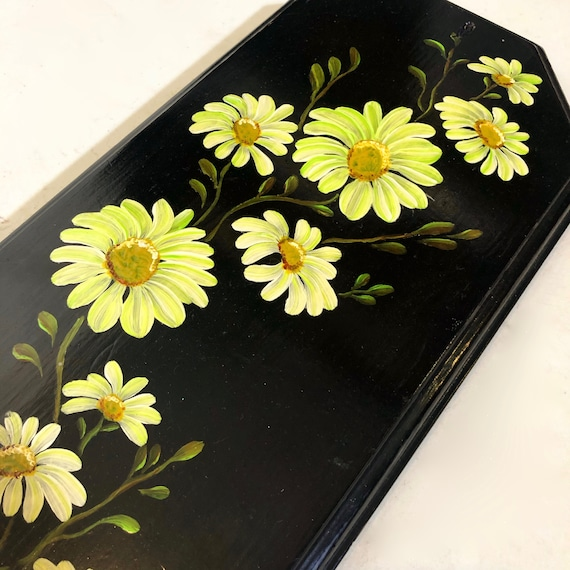 1970s authentic vintage hand painted yellow + black daisy wooden wall hanging / plaque