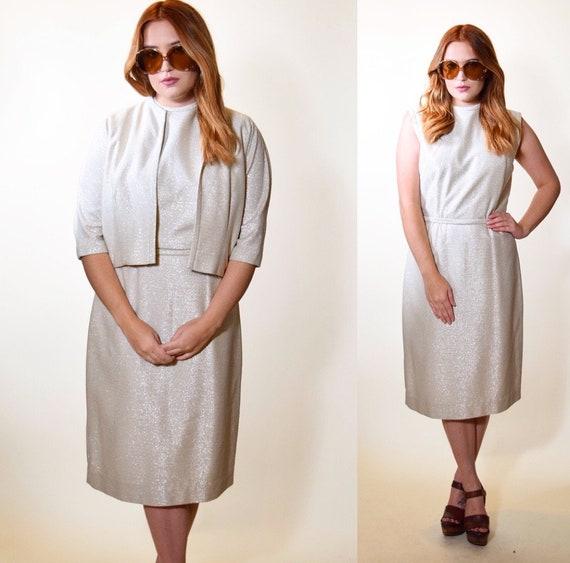 1950s vintage Holiday silver shimmer sparkle sleeveless dress + matching jacket set women's size medium
