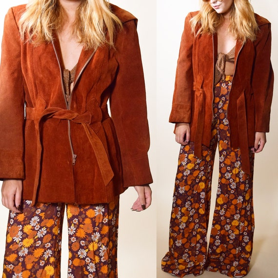 Vintage 1970s  vintage Rust suede zip front hippie jacket with and belt women's size small
