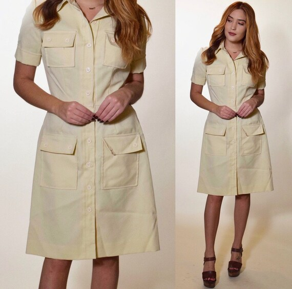 Authentic vintage 1960s-1970s Button down fit and flare short sleeve shirt dress women's size small