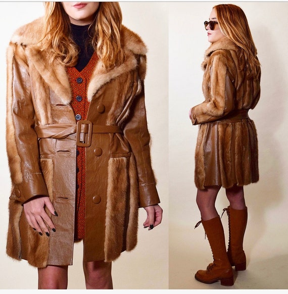 1970s vintage brown mink fur Rock N Roll coat with leather detail women's size medium