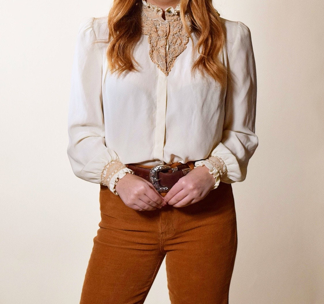 6e16c920 Authentic vintage white button down silk blouse with beige brown lace high  collar + sleeve detail women's size S-M