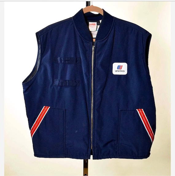 Authentic vintage United Airlines zip up uniform vest size large