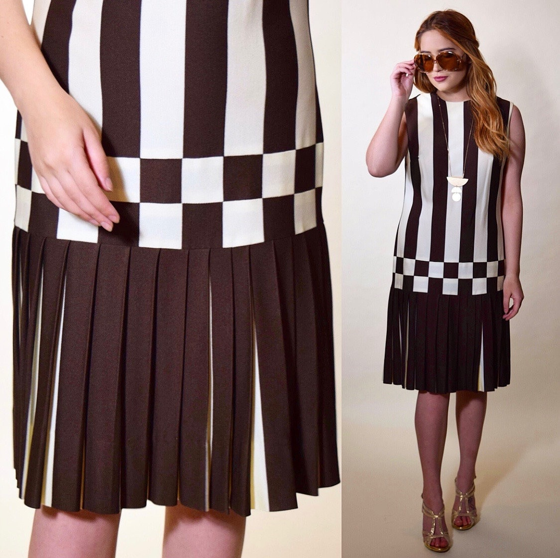 e90be7223f 1960s vintage brown + white flapper 20s style drop waist sleeveless dress  with pleated skirt women's size medium