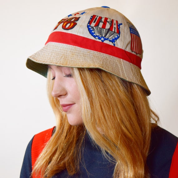 Authentic vintage RARE 1976 1970s USA #1 Fourth of July bucket hat unisex small-medium