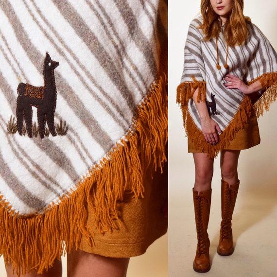 1970s authentic vintage bohemian hippie earth tone wool stripe + fringe poncho with alpaca women's one size