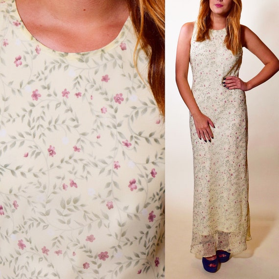 1990s authentic vintage sleeveless light pale off white dainty floral maxi dress women's size small