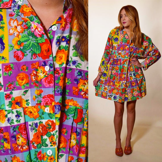 Vintage hippie bohemian floral patchwork button down collared mini tunic / shirtdress women's size small-large