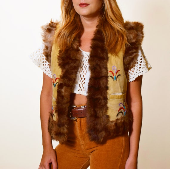 1960s authentic vintage RARE tan suede embroidered vest with faux fur lining women's size small