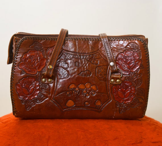 1960s authentic vintage hand Tooled leather purse with mushroom and rose floral detail