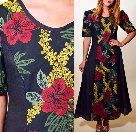 Authentic vintage black palm tree Hawaiian floral maxi short sleeve maxi dress women's size XS-S