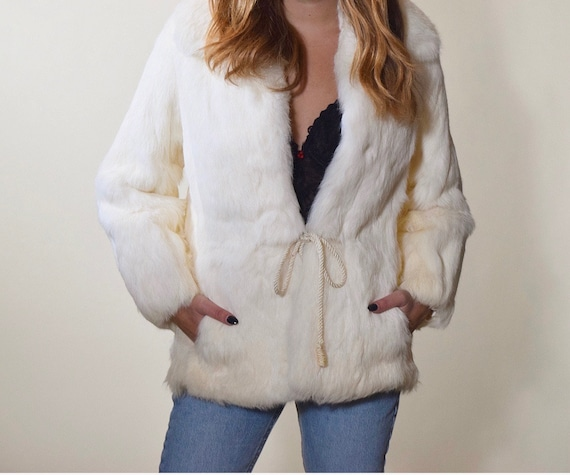 1970s-1980s white fur cropRock N Roll jacket with waist tie women's size small