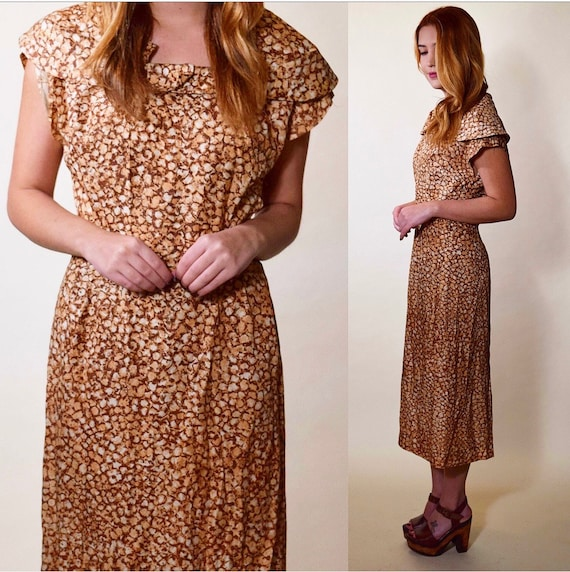 1940s authentic vintage earth tone brown beige boat neck midi dress women's size medium