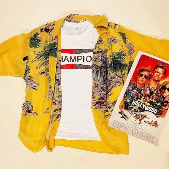 100% Silk yellow tiger print Hawaiian shirt unisex size XL / Halloween costume / once upon a Time in Hollywood