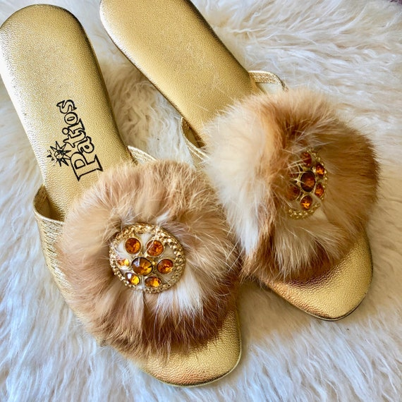 1960s authentic vintage gold boudoir slippers with feather and jewel embellishments women's US size 6-6.5