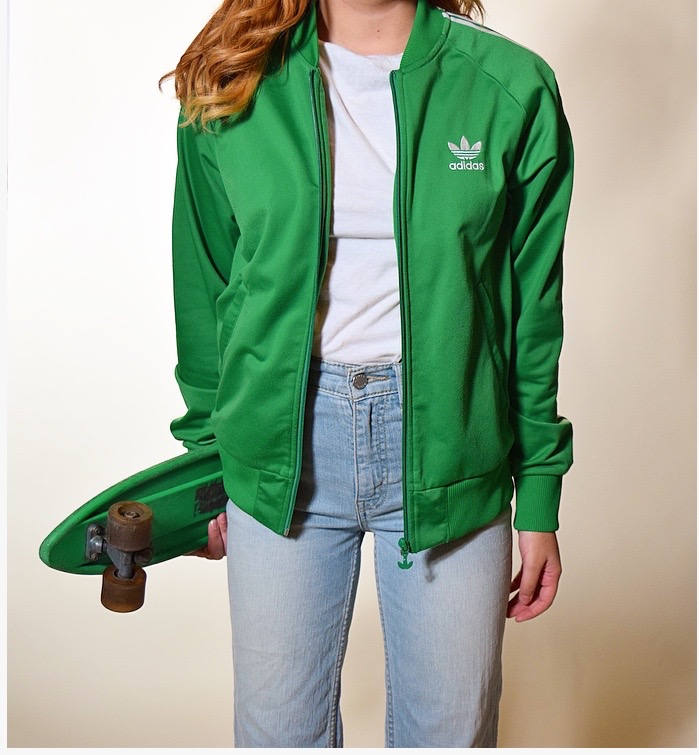 Vintage Adidas Green And White Stripe Track Zip Up Track Jacket