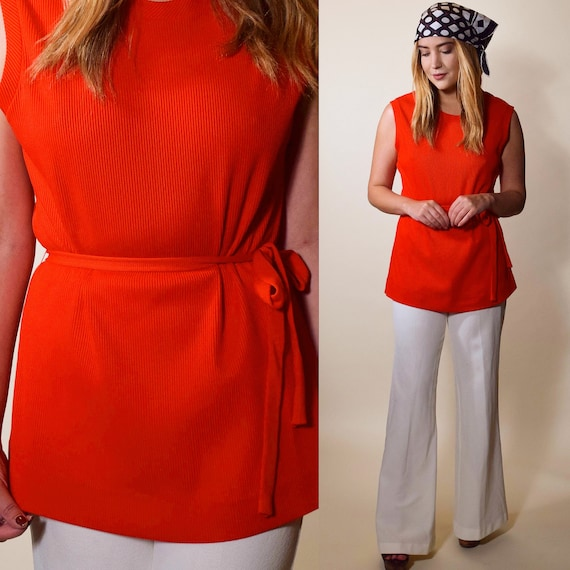1960s authentic vintage red sleeveless mod tunic with matching tie women's size small