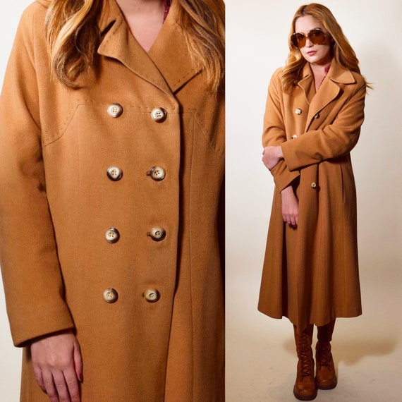 Authentic Vintage double breasted camel brown long collared trench coat women's size Medium-large