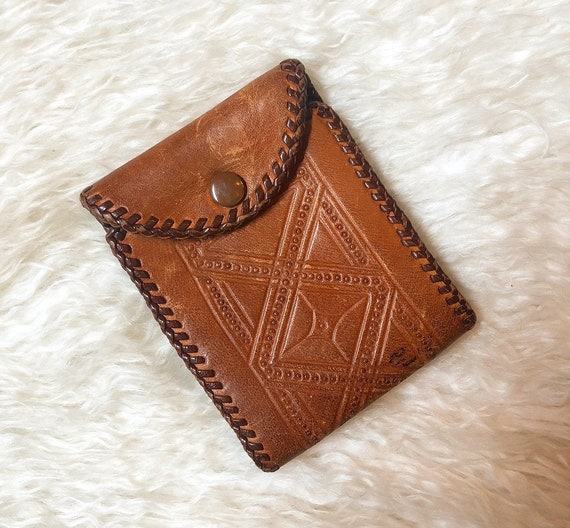 Authentic vintage leather tooled one of a kind snap bill fold