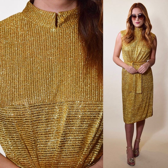 Vintage 1960s Lurex gold going out retro party dress women's size small-medium high collar + matching sash