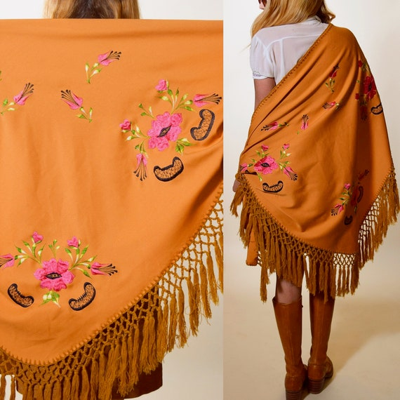 1970s vintage gold floral embroidered bohemian hippie fringe kimono /shawl/tapestry  ONE SIZE