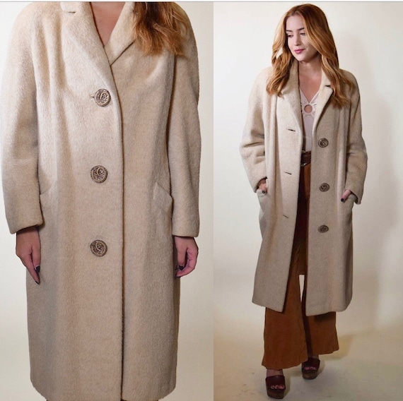 1950s authentic vintage beige pure Llama winter overcoat trench coat women's size medium-large