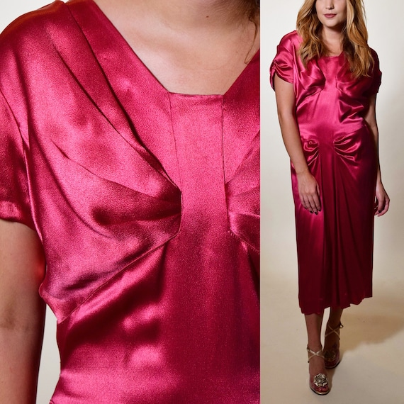 1940s vintage magenta satin type short sleeve formal dress women's size medium
