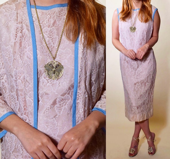 1960s authentic vintage formal dusty rose lace sleeveless midi pencil dress with matching jacket women's size medium