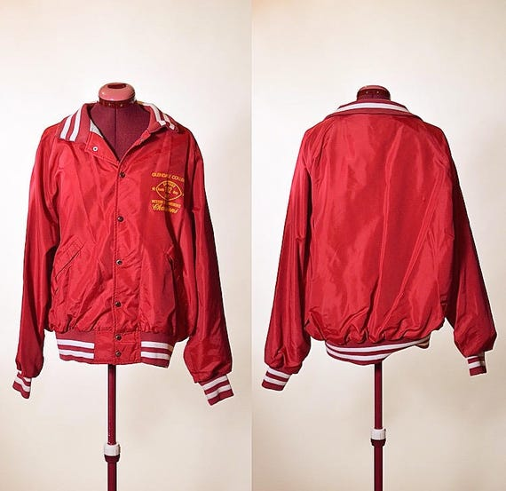 "1980s  satin bomber souvenir  jacket "" Glendale college San Diego made in US unisex L"