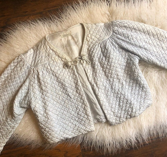 1930s rare authentic vintage blue/gray quilted bed jacket women's size S-M