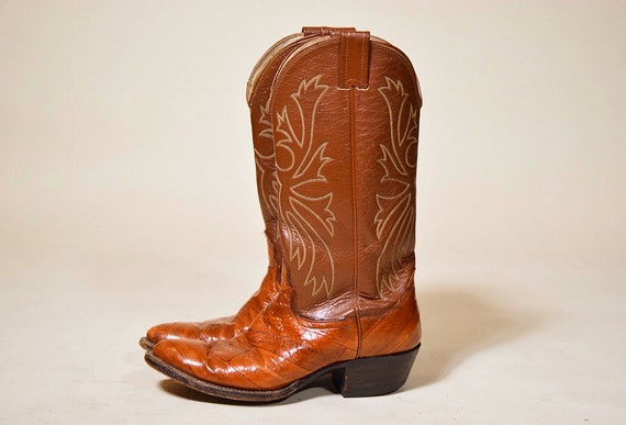 Vintage Nacoma tan brown leather eel skin and leather cowboy western boots men's 8.5 women's 10.5