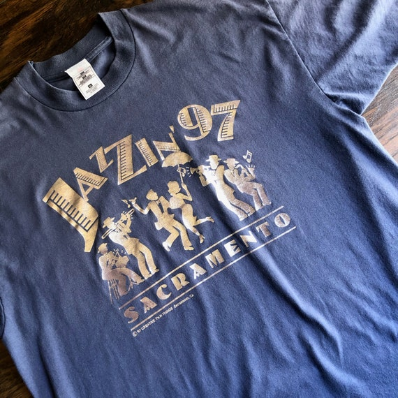 Vintage 1990s Sacramento Jazz Festival nay blue + silver graphic tee shirt unisex L-XL
