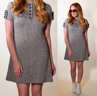 Vintage Mod wool mini short sleeve Joseph Magnin dress women's size XS-S