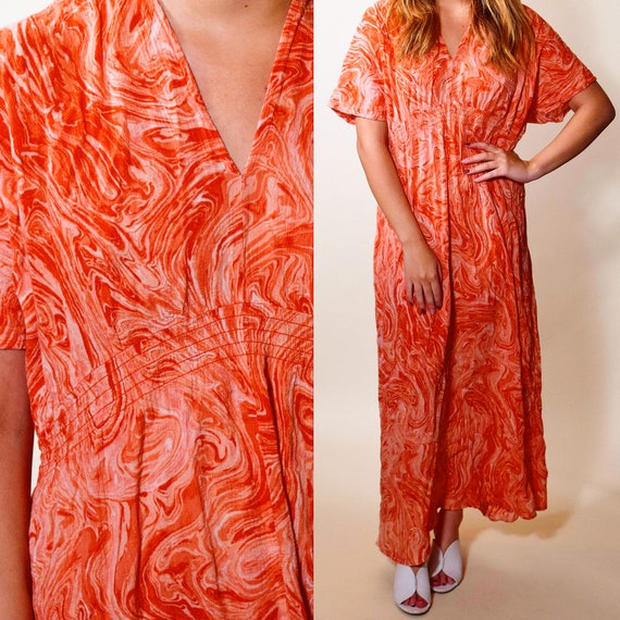 Vintage tie die hippie orange + white bohemian gauze kaftan maxi dress women's size medium-large