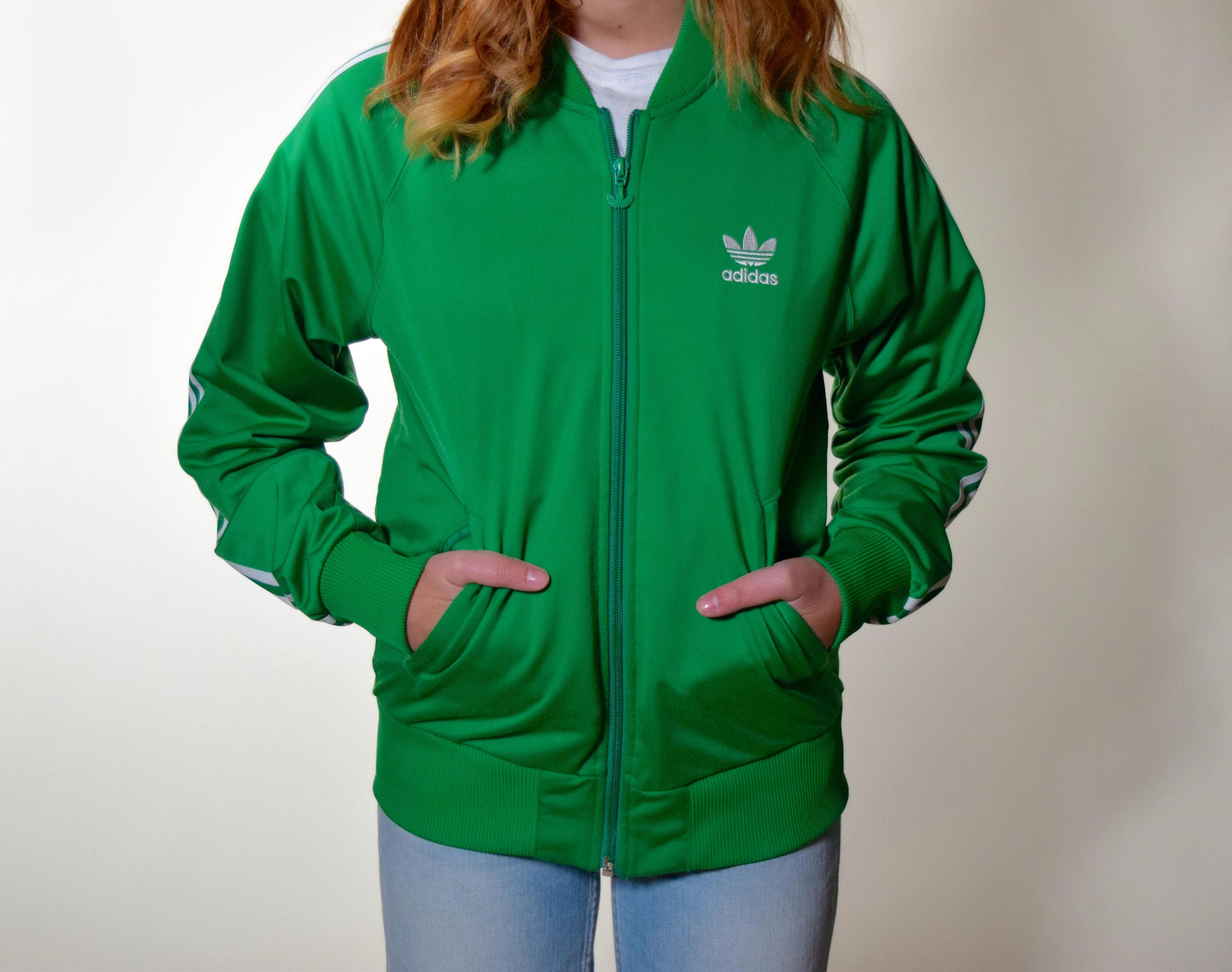Vintage Adidas Green And White Stripe Track Zip Up Track