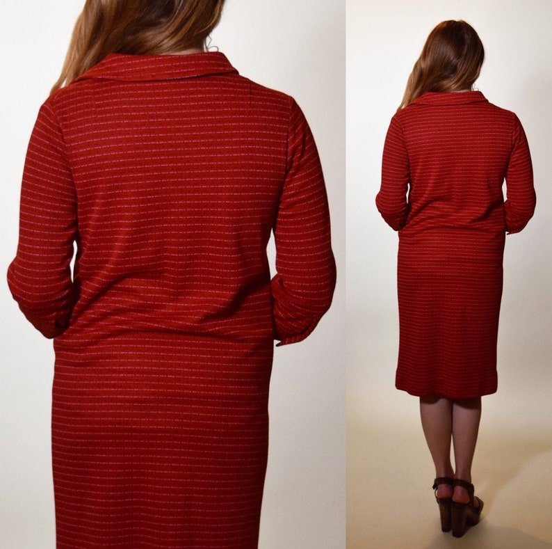 1970s preppy collared red 34 length sleeve pullover dress women/'s size small