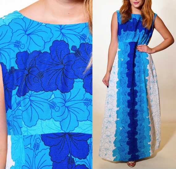 Authentic Vintage 1960s bright blue + White Hawaiian floral sleeveless maxi dress women's size medium-large