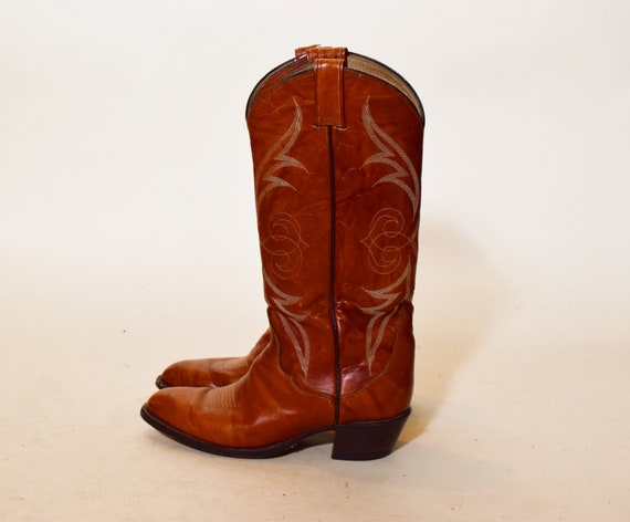 Authentic Vintage  brown leather cowboy western boots women's US size 8
