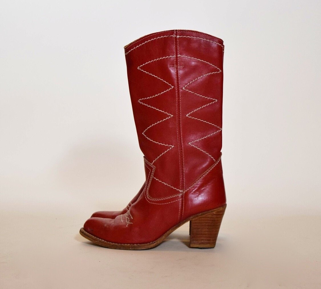 ef578658355c2 1970s vintage red leather cowboy boots with stacked brown leather ...