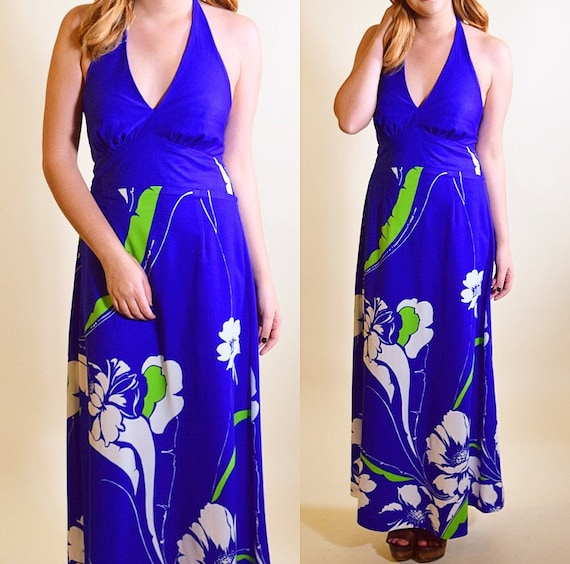 Authentic vintage 1970's royal blue Hawaiian floral patterned tie halter maxi dress 100 % polyester women's size small