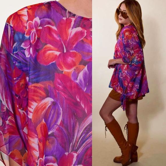 1980s authentic vintage watercolor floral disco sheer tie blouse / tunic women's size medium-large