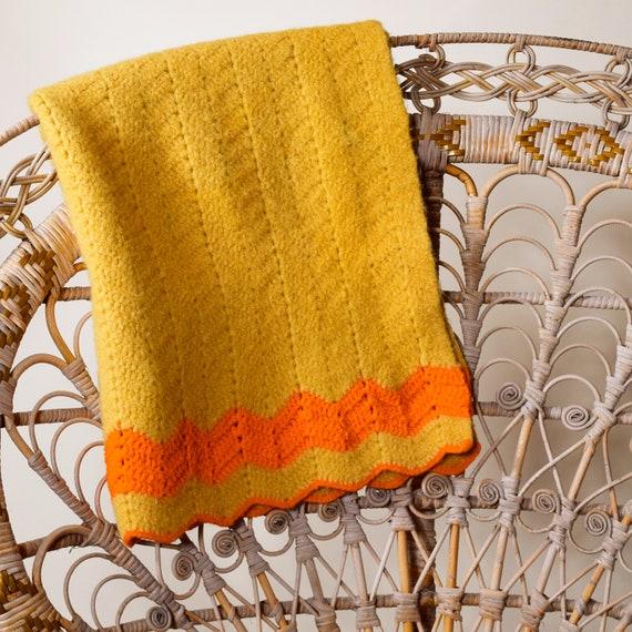 1970s authentic vintage handmade gold + orange wool afghan / throw blanket