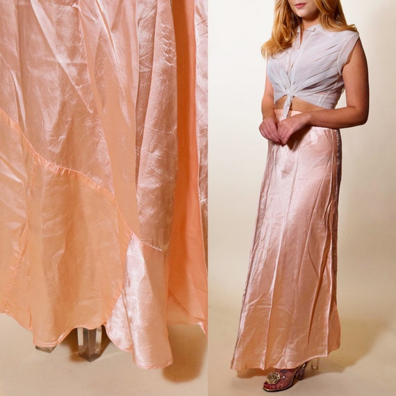 1930s vintage light blush pink bias cut asymmetrical rare skirt women's size XS-S