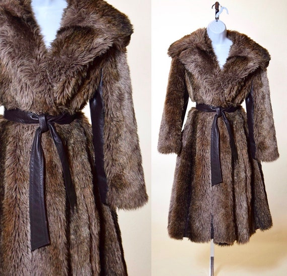 1960s vintage I.Magnin / Lilli Ann brown faux fur coat with brown leather paneling and matching waist tie women's size medium